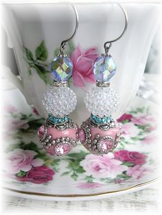 Dangle Earrings Pink Rhinestone Bubble Bump Beads by TheVintageHeart