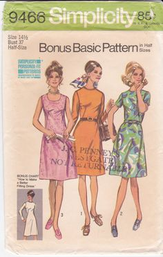 Uncut Vintage Simplicity Sewing Pattern 9466 A-Line by Ziatacraft