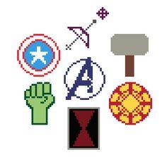 Avengers Assemble Symbols Marvel Cross Stitch by XStitchMyHeart, Marvel Cross Stitch, Geek Cross Stitch, Cross Stitch Patterns, Quilt Patterns, Cross Stitching, Cross Stitch Embroidery, Nerd Crafts, Avengers, Charts And Graphs
