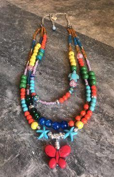 Boho Butterfly Πολύχρωμο Τριπλό Κολιε | | Tria-Aegina Butterfly Design, Boho, Arts And Crafts, Handmade Jewelry, Beaded Necklace, Jewelry Design, Beautiful, Beaded Collar, Bowtie Pattern