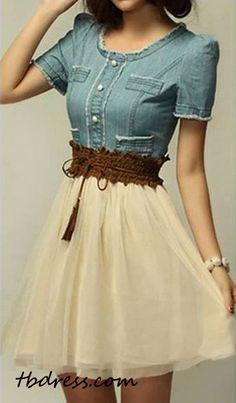 Lovely Korean Style Split Joint Short Sleeves Lace Jeans Vintage Style Dress on tbdress.com #Women Dress on summer #TBDress summer Outfit .