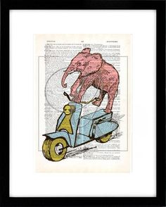 Elephant Print, Dictionary art print, vintage scooter, nursery wall art, kids room art, pink elephant print, zoo animal prints no 152 by quiveringbeeprints on Etsy https://www.etsy.com/listing/534669783/elephant-print-dictionary-art-print