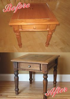 """""""Farmhouse Table"""" Used gel varnish remover to strip off most of the varnish. Barn wood look came from varnish not being fully removed; whatever is left behind will appear lighter when a dark stain is applied. Heavily sand areas that you prefer to look darker."""