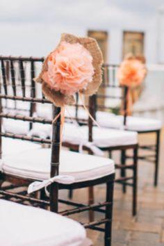 Chair decor beach wedding burlap peach