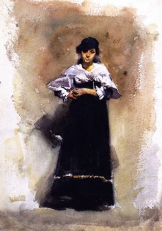 Young Woman in a Black Skirt / John Singer Sargent - circa 1880-1881