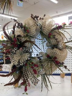 Burlap wreath w/feather by kyong