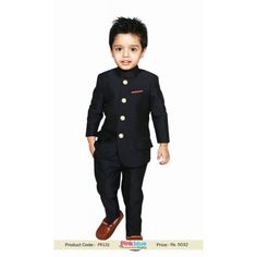 Dashing Black Jodhpuri suit for Royal Weddings, Boys Bandhgala Indian Traditional Suit with Four Buttons. Same fabric trouser comes along with this. Boys Party Wear, Kids Party Wear Dresses, Kids Wear Boys, Kids Dress Wear, Children Wear, Wedding Dress For Boys, Baby Boy Wedding Outfit, Boys Wedding Suits, Kids Indian Wear