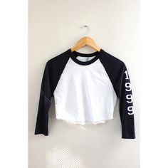 1999 Navy Blue and White Cropped Baseball Tee (2585 RSD) ❤ liked on Polyvore featuring tops, t-shirts, graphic baseball tees, 3/4 sleeve shirts, silk t shirt, crop t shirt and 3/4 sleeve tee