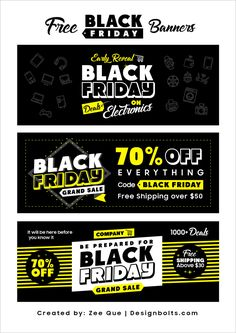 Black Friday Deals 2019 Free Banners in Ai Format - Neisha Home E Sports, Black Friday Shopping, Black Friday Deals, Youtube Banner, Banner Design Inspiration, Black Banner, Free Banner, Web Design, Black Friday