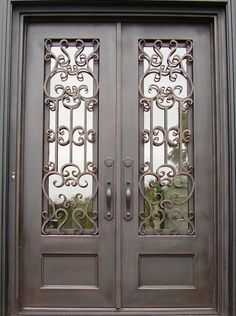 Iron Doors Photo Gallery Displays An Array Of Beautiful and Affordable Iron Doors. Affordable Iron Doors Only Carries The Highest Quality Doors And Prices That Can't Be Beat! Gate House, Double House, Entrance Doors, Door Picture, Beautiful Doors, Wrought Iron Front Door, Double Wood Front Doors, Front Door Design, Home Gate Design