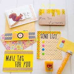 Yellow themed Snail Mail Stuff made by http://instagram.com/k_coulst More Snail Mail Ideas and inspiration on www.snailmail-ideas.com