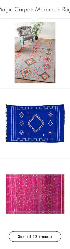 """""""Magic Carpet: Moroccan Rugs"""" by polyvore-editorial ❤ liked on Polyvore featuring moroccanrugs, home, rugs, blue, blue rugs, gray rug, non skid rugs, trellis rug, wool area rugs and border rug"""