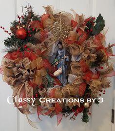 Christmas Wreath, Nativity Wreath, Manger Wreath, Deco Mesh Nativity Wreath, by on Etsy Christmas Manger, Christmas 2017, Christmas Diy, Christmas Decorations, Holiday Decor, Nativity Creche, Christian Gifts, Diy Wreath, Holiday Wreaths