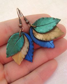 Leaf Earrings - Bronze, Green and Blue- Polymer Clay. $12.00, via Etsy.