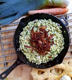 Austrian spätzle with wild garlic, cheese, and fried onions Cheese Spaetzle, Spaetzle Maker, Spatzle, Austrian Recipes, Wild Garlic, Minced Onion, Fried Onions, Your Recipe, Farmers Market