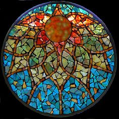 Stained Glass Mosaic Mandalas; mandalas w/beads, buttons, sea glass, stones, shell
