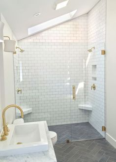 Master Bathroom Remodel Modern Transformation by Master bathroom remodel with herringbone floors, white subway tile, brass fixtures, and floating wood vanity with marble top by Beebout Design. Bathroom Floor Tiles, Wood Bathroom, Design Bathroom, Kitchen Floor, Bathroom Vanities, Tile Design, Bathroom Ideas, Bathroom Renovations, White Subway Tile Bathroom