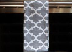 Grey Quatrefoil Kitchen  or Hand Towel by DesignsByThem on Etsy