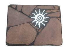 Star Coffee Table: A x 24 x tall natural stone folk art table featuring a southwest sun symbol Sandstone Slabs, Star Coffee, Accent Tables, Natural Stones, Folk Art, Recycling, Symbols, Sun, Stars