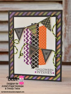 Beth's Beauties: Trendy Twine - Halloween Banner Card using Lime Licorice #trendytwine