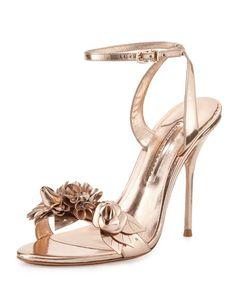 Sophia Webster, Lilico Floral Leather Sandal in Rose Gold, $600