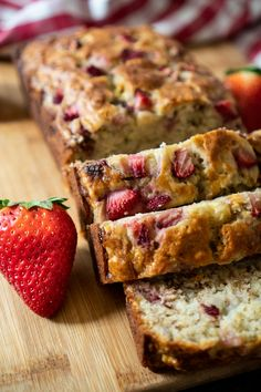 Five Approaches To Economize Transforming Your Kitchen Area Combine Your Favorite Fruits With This Easy Strawberry Banana Bread Recipe The Entire Family Will Love. This Is An Easy Quickbread Recipe Ready In Just One Hour Great For Breakfast Or Dessert Easy Bread Recipes, Easy Cookie Recipes, Banana Bread Recipes, Gourmet Recipes, Breakfast Bread Recipes, Dip Recipes, Quick Recipes, Apple Recipes, Keto Recipes