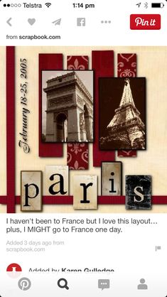 Paris scrapbook page layout Travel Scrapbook Pages, Vacation Scrapbook, Scrapbook Cover, Scrapbook Sketches, Scrapbook Page Layouts, Scrapbooking Paris, Scrapbook Paper Crafts, Scrapbook Cards, Creative Memories