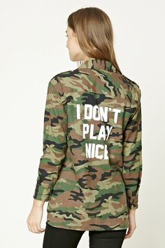"A lightweight flannel jacket featuring an allover camo print, ""I Don't Play Nice"" back graphic, basic collar, flap chest pocket, long sleeves, and a button front."