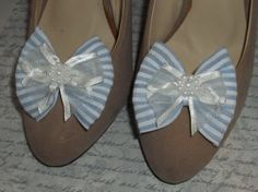 Seersucker Shoe Clips  set of 2  Blue and White by ShoeClipsOnly, $18.00
