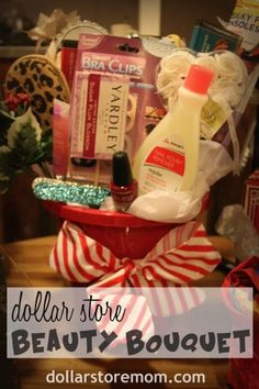 Easy Gift: Dollar Store Beauty Bouquet Doing this with Candy for a Candy Bouquet! Creative Gifts, Cool Gifts, Best Gifts, Diy Christmas Gifts, Holiday Crafts, Holiday Ideas, Dollar Store Gifts, Secret Sister Gifts, Random Holidays