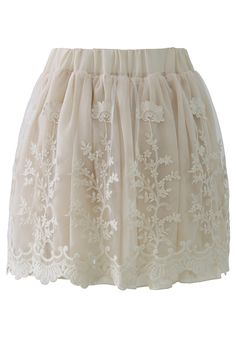 Creamy Planting Lace Tulle Skirt - Retro, Indie and Unique Fashion