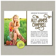 Graduation Announcement / Invitation by WadeDesignPrintables, $15.00