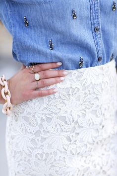 Embellished denim button down, lace skirt and baubles