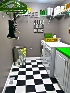 Bright laundry room design can a perfect solution for your interior, leave impression of a dark laundry room and mess with your work piling up Basement Laundry, Laundry Area, Laundry Room Design, Laundry Rooms, Laundry Basket, Garage Laundry, Laundry Bin, Küchen Design, House Design