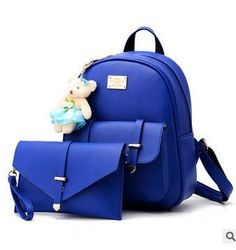 COOL WALKER New Women Leather Backpacks Fashion Designed Brand Backpack School Bag Women Casual Style Backpacks + Small Bags