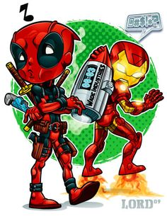 Lil Deadpool 'n' Shellhead by lordmesa on DeviantArt