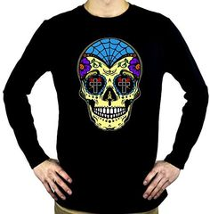 "Yellow Sugar Skull Long Sleeve Shirt ""Dia De Los Muertos"" Day of the Dead"
