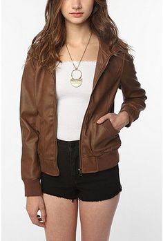 Sparkle & Fade Faux Leatherette Mock-Neck Bomber Jacket - Urban Outfitters (I am in desperate need of a leather jacket!!)