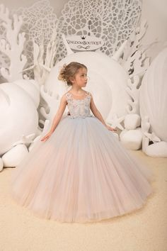 party blue Light blue and Cappuccino Flower Girl Dress Birthday Wedding Party Holiday Bridesmaid Flower Girl Tulle Lace Dress Lace Corset, Tulle Lace, Lace Dress, Gowns For Girls, Little Girl Dresses, Flower Girl Dresses, Flower Girls, Vetement Fashion, Ceremony Dresses