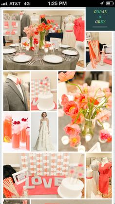 Coral and Gray wedding colors? Think I love..