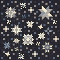 Bright Above Me  Nocturne Layer Cake Janet Clare Blue Fabric Complete Quilt Kit  #ModaFabrics