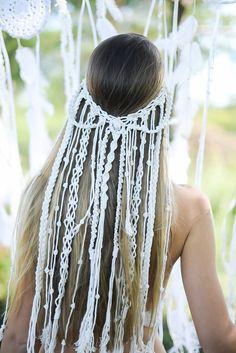 Macrame Headband, Macrame Dress, Bohemian Headband, Boho Bridal Hair, Boho Beach Wedding, Wedding Veil, Veil Diy, Crochet Wedding, Braut Make-up