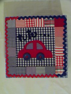 caja con auto en falso patchwork