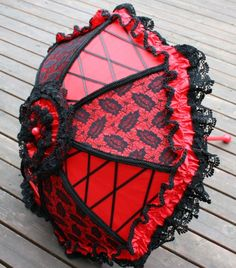 Frilly Red & Black Satin Parasol Steampunk Lolita