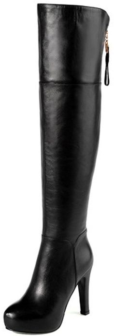 457cf21a743 Harshiono Womens Pure Genuine Leather High Heels Thigh High Boots US 8 EURO  39 Genuine Cow Leather   Continue to the product at the image link.