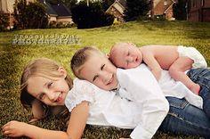Brother, sister, new baby pose- TreasureLayne Photography: Children