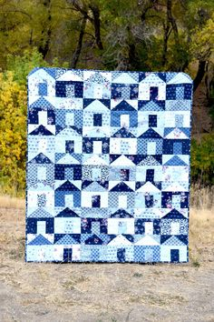 Sewing Block Quilts Hanna's Houses Quilt – PDF pattern - Create your own charming village of traditionally pieced houses using squares! This pattern is quick and easy, and perfect for using all of those beautiful precuts. Make sure to choose f… House Quilt Patterns, House Quilt Block, Modern Quilt Patterns, Quilt Blocks, Sewing Patterns, Block Patterns, Blue Quilts, Scrappy Quilts, White Quilts