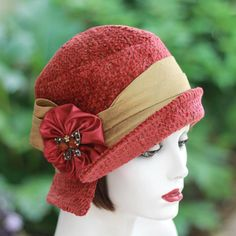 Classic Yet Trendy Dark Rose Red Fabric Cloche Womans Hat Fall and Winter