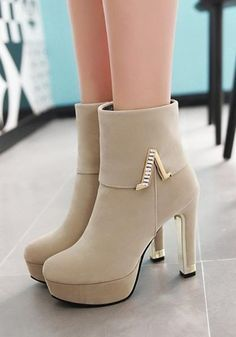 Ankle Boots Beige, High Heel Boots, Heeled Boots, Shoe Boots, High Heels, Shoes Heels, Dress Shoes, Pumps, Pretty Shoes