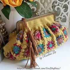 Crochet Purses Made by Rosalina Lee – Jennifer Main - Crochet Crochet Cord, Single Crochet Stitch, Crochet Lace, Crochet Stitches, Crochet Patterns, Blanket Crochet, Crochet Handbags, Crochet Purses, Boho Bags